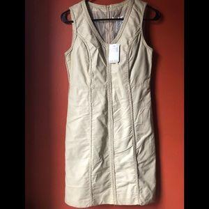 ❤️NWT Max Studio Faux Leather Ivory Dress Sz M